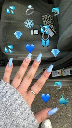 Nail - More than 50 brilliant summer nail art designs that will be so fashionable t . - - More than 50 brilliant summer nail art designs that will be so fashionable all season, summer nails pretty nails pastel nails stiletto nails. Aycrlic Nails, Swag Nails, Emoji Nails, Pointy Nails, Nails 2018, Blue Acrylic Nails, Acrylic Nail Designs Coffin, Acrylic Summer Nails Coffin, Pastel Blue Nails