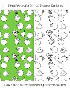 Free Printable Black and White Fruit Digital Papers
