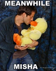 Misha and..a stuffed duck