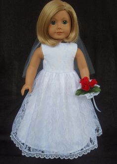American Girl Doll Clothes Lace Overlay Wedding Gown Dress. Ready to ship.    This Wedding Dress is so pretty! The gown is made with white cotton and