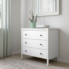 IKEA - KOPPANG, Chest of 3 drawers, white, Of course your home should be a safe place for the entire family. That's why a safety fitting is included so that you can attach the chest of drawers to the wall. Ikea Chest Of Drawers, 3 Drawer Chest, Drawer Unit, Dresser Drawers, Dresser As Nightstand, Ikea White Drawers, Dressers, Commode Design, Ikea Family
