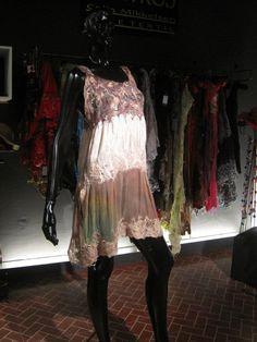 vestido combinado seda gasa y fieltro Celia Mikkelsen www.artefieltros.com