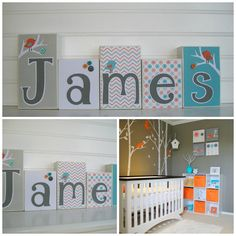 Baby Name Blocks .modern Aqua And Orange. Nursery Name Blocks . Nursery Decor…