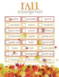 Fall Scavenger Hunt for kids   Free Printable   www.MoritzFineBlogDesigns.com