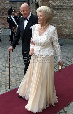 Prince Carl Bernadotte and Princess Kristine arrive at Akershus Fortress for the pre-wedding banquet on August 24th; wedding of Crown Prince Haakon of Norway and ms. Mette-Marit Tjessem Høiby, August 25th 2001