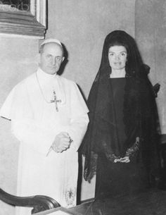 Jacqueline Kennedy Visiting Pope Paul VI Jacqueline Kennedy, wearing a Spanish style mantilla, bows her head as she is greeted by Pope Paul VI during audience with the pontiff January 31st. The Pope told Mrs. Kennedy that her late husband was in his thoughts and prayers. Date Photographed:January 31, 1966.❤♛❤ http://en.wikipedia.org/wiki/Jacqueline_Kennedy_Onassis