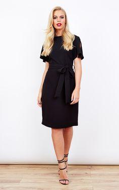Short Sleeved Black Middle Tie Dress - SilkFred