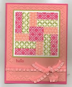 Stampin' Up! ... hand crafted  Quilted Card ... quilt block ... melon mambo ...