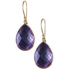 14k Gold Pear-cut Amethyst Dangle Earrings ($119) ❤ liked on Polyvore