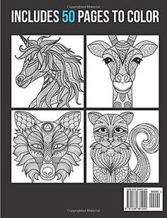 Adult Animal Mandala Designs Relax Art Coloring Book Therapy Fun Patterns New