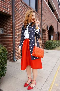 kate spade polka dot coat, polka dots, red skirt and polka dots, red tory burch bag, mix prints, red and white, preppy, street style, valentines, full midi skirt, lace up flats