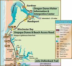 Oregon Dunes - map of the Umpqua Dunes Area