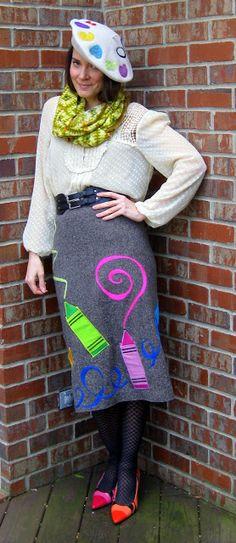 felted skirt Cassie Stephens: DIY: The Crazy Art Teacher Art Teacher Outfits, Teacher Wear, Teacher Costumes, Summer Teacher Outfits, Teacher Style, Summer Outfits, Teacher Clothes, Teacher Fashion, Teacher Blogs