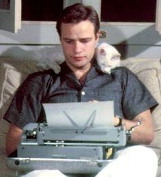 Marlon Brando & his cat | Classic Movie Stars Spending Time With Their Pets