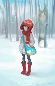 little red, red riding hood, red ride, digital art, red hats, design art, winter scenes, ride hood, illustr