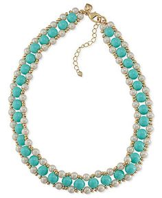 Carolee Necklace, Gold-Tone Beaded Glass Pearl Woven Necklace - Fashion Necklaces - Jewelry & Watches - Macy's