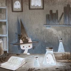 Little ghost and wizard cat Art Print by Laure S - X-Small Halloween Illustration, Illustration Art, Wizard Cat, Arte Robot, Cute Ghost, Dibujos Cute, Laura Lee, Cute Halloween, Cat Art