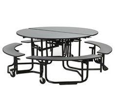Merveilleux KI Uniframe Folding Round Cafeteria Table W/ Split Bench