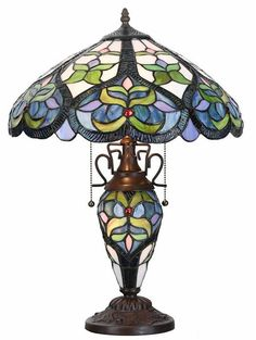 Harlow of Hearts Double Lit Stained Glass Table Lamp | 22 inches