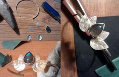 Handmae silver bracelet with labradorite :D