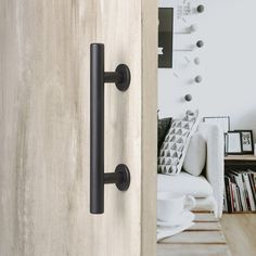 MJC & Company's stylish barn door handle pull/flush combo & privacy latch coordinates seamlessly with all barn door hardware kits providing the finishing touch.
