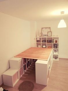 A loft bed from Ikea Kallax shelves #kallax #shelves