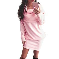 Gillberry Women Autumn Long Sleeve Bodycon Lapel Sweater Dress (L, Pink) Pullover Mode, Jumper, Long Sleeve Midi Dress, Dress Long, Pink Mini Dresses, Spandex Dress, Mini Vestidos, Necklines For Dresses, Formal Dresses For Women