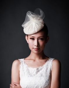 An ivory lace beret with crin trim. All bridal hats and headpieces can be made to order, available in different colors, fabrics and embellishments. Bridal Hat, Bridal Headpieces, Fascinators, Headpiece Wedding, Hair Decorations, Wedding Hats, Hat Hairstyles, Headgear, Beret