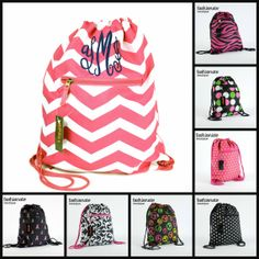 Customized Monogrammed Drawstring Backpack by FashionateBoutique, $9.99