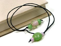 Book Thong Beaded Bookmark Pink Flower Soft Green by TJBdesigns, $4.00