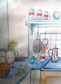 Teresa S. Madore watercolor, kitchen