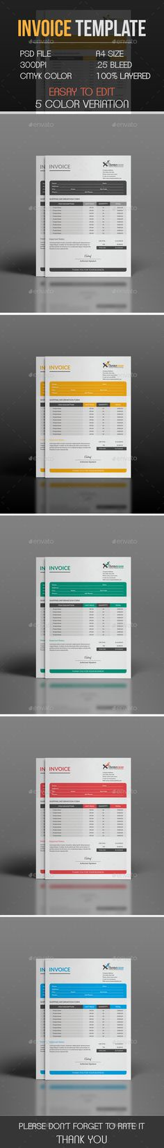 Invoice - #Proposals & #Invoices #Stationery Download here: https://graphicriver.net/item/invoice/18820585?ref=alena994
