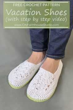 Every summer my husband and I take our 4 kids on week long family vacation. Crochet Sandals, Crochet Slippers, Knit Or Crochet, Crochet Gifts, Free Crochet, Unique Crochet, Easy Knitting Patterns, Crochet Patterns, Simple Knitting
