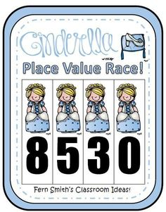 Place Value Race Game Cinderella Theme #TPT $Paid