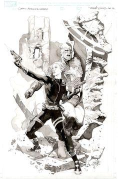 Renato Guedes - Captain America and Sharon Carter Comic Art