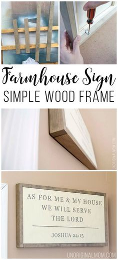 Wood Projects Quick and easy tutorial to make your own wood frame for a canvas. Great way to make a DIY framed farmhouse style sign! - Quick and easy tutorial to make your own wood frame for a canvas. Great way to make a DIY framed farmhouse style sign! Easy Woodworking Projects, Diy Wood Projects, Wood Crafts, Woodworking Tools, Diy Crafts, Popular Woodworking, Woodworking Machinery, Woodworking Furniture, Custom Woodworking
