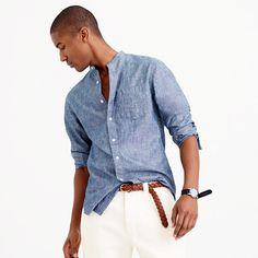 J.Crew+-+Band-collar+shirt+in+dark+chambray