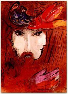 Marc Chagall - David and Bathsheba (1956)  color lithograph.