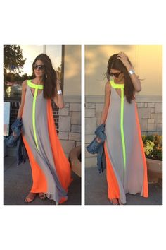 I never knew taupe and neon could look so great together. This dress is perfect for Eid prayer followed by a day at the beach. Flat, neutral-colored sandals, orange headscarf, and neon yellow long-sleeved shirt (with a matching clutch) would round out this look. - Habiba West