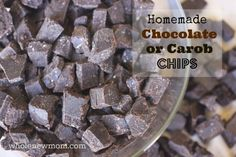 These Homemade Chocolate Chips are easy to make, taste great and hold their shape in baked goods. Great for special diets - dairy, soy, and ...