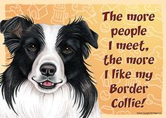Border Collie Dog Sign Wall Plaque Magnet Velcro 5x7 - More People ...