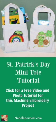 This video and photo tutorial will show how to machine embroider St Patricks Day Mini Tote Treat bags. These are cute mini tote bags perfect for a few treats! Machine Embroidery Projects, Applique Embroidery Designs, Small Gifts, Gifts For Kids, Pattern Quotes, Craft Projects For Kids, Craft Ideas, Tote Tutorial, Embroidery For Beginners