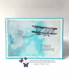 handmade birthday card ...  Sky Is the Limit ... luv the bokeh technique for the cloudy sky ... Stampin' Up!