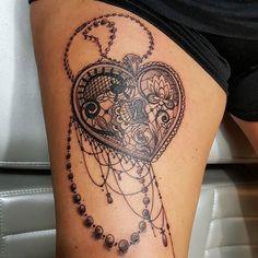 My Lace Heart Locket tattoo by David Winn