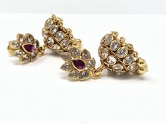 CZ and Ruby Jumka with Gold Beads Queen Bees, Gold Beads, Jewerly, Silver Jewelry, Brooch, Women's Fashion, Ornaments, Earrings, Schmuck