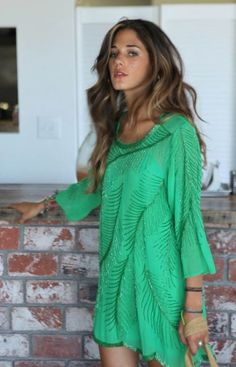 Green feather beaded dress...love.