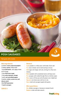 Who says bangers and mash can't be posh? We've given the pub grub an upgrade with pumpkin mash. #PnP #dailydish #freshliving