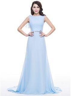 c3a127fe5d94 A-Line Princess Scoop Neck Court Train Chiffon Lace Evening Dress With  Beading Sequins