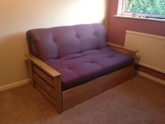 Edinburgh Futon Sofa Bed Venice Lilac & Oak finish