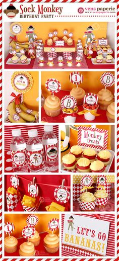 Special Price Sock Monkey Birthday Party Package by venspaperie